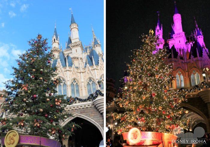 今年は生木のクリスマスツリーがシンデレラ城の裏に登場!