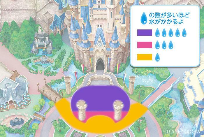 ステージ正面は大量の水がかかる