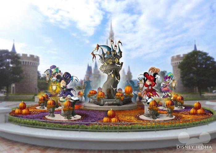 シンデレラ城前のプラザにはゴーストの仲間になったミッキー達のデコレーションが登場