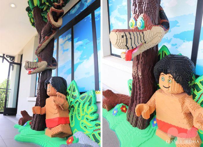 店内に展示されたレゴ作品「モーグリ&カー」